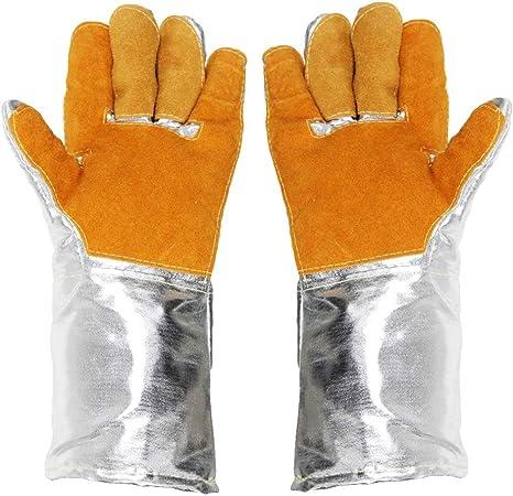 Colore : Silver, Dimensioni : L37cm ZXW Guanti- Guanti in Alluminio Guanti 1000 Gradi Resistente alle Alte Temperature Fusione Anti-Incendio ignifugo Cinque Dita