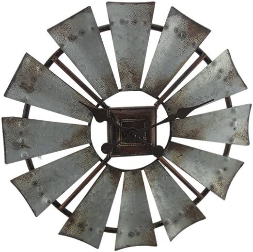 Special T Imports Distressed Grey Rustic 30 Inch Metal Windmill Wall Clock