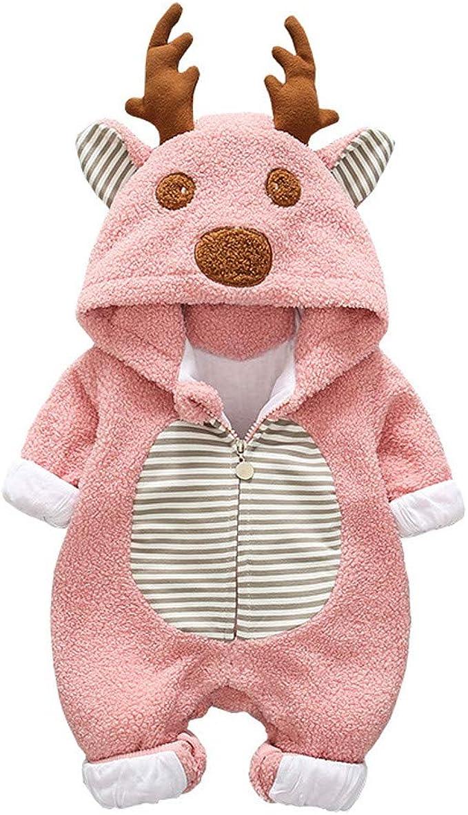 VICGREY Tute Completo Bambino 0-24 Mesi Abbigliamento Neonato Battesimo Vestiti Bambino Autunno Inverno Unisex Cartone Animato Pagliaccetti con Cappuccio Tuta Abbigliamento Romper