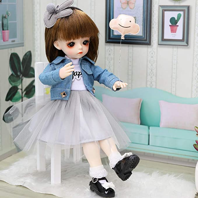 Kids Toy Ponytail BJD Doll Head /& Movable 12 Jointed Doll Body For Licca Doll