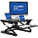 "FlexiSpot 27"" Wide Platform Height Adjustable Standing Desk Riser, Removable Keyboard Tray, Black (M1B-S-SIZE)"
