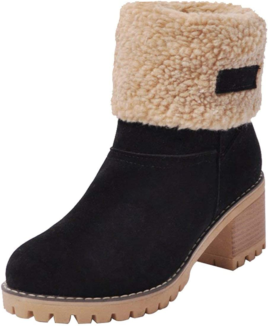 GOUPSKY Snow Boots Women Mid Heel Shoes