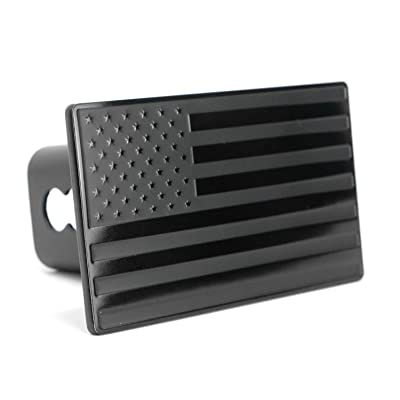 """eVerHITCH USA US American Black Flag Stainless Steel Emblem on Metal Trailer Hitch Cover. Fits 2\"""" Receivers, Black & Black: Automotive [5Bkhe1507094]"""