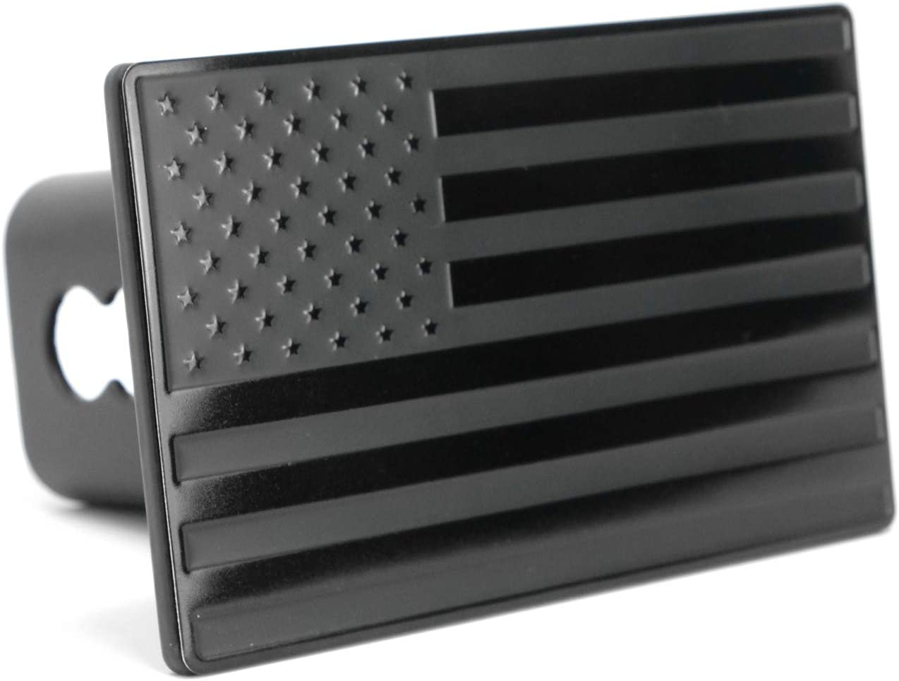 USA US American Stainless Steel Flag Metal Emblem on Metal Trailer Hitch Cover eVerHITCH Fits 2 Receivers, Black