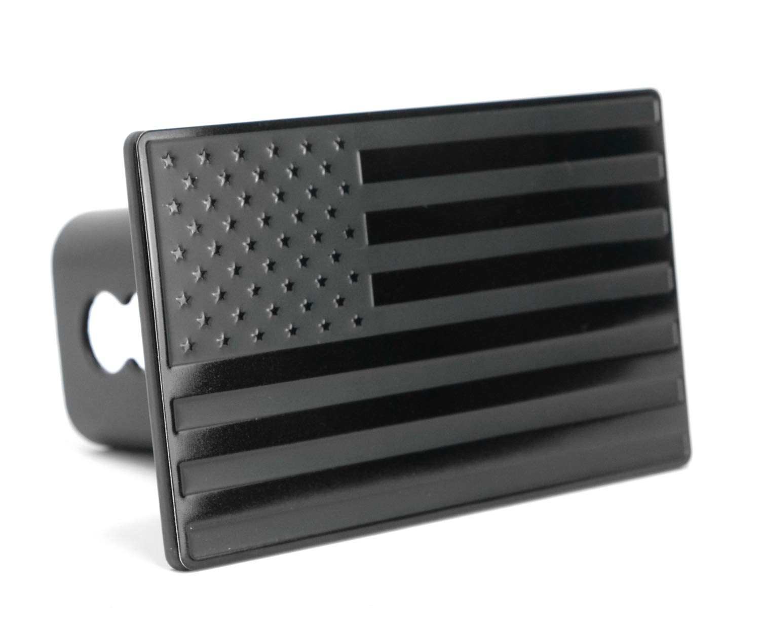 LFPartS USA US American Flag Emblem Metal Trailer Hitch Cover (Fits 2'' Receivers, Black) by LFPartS
