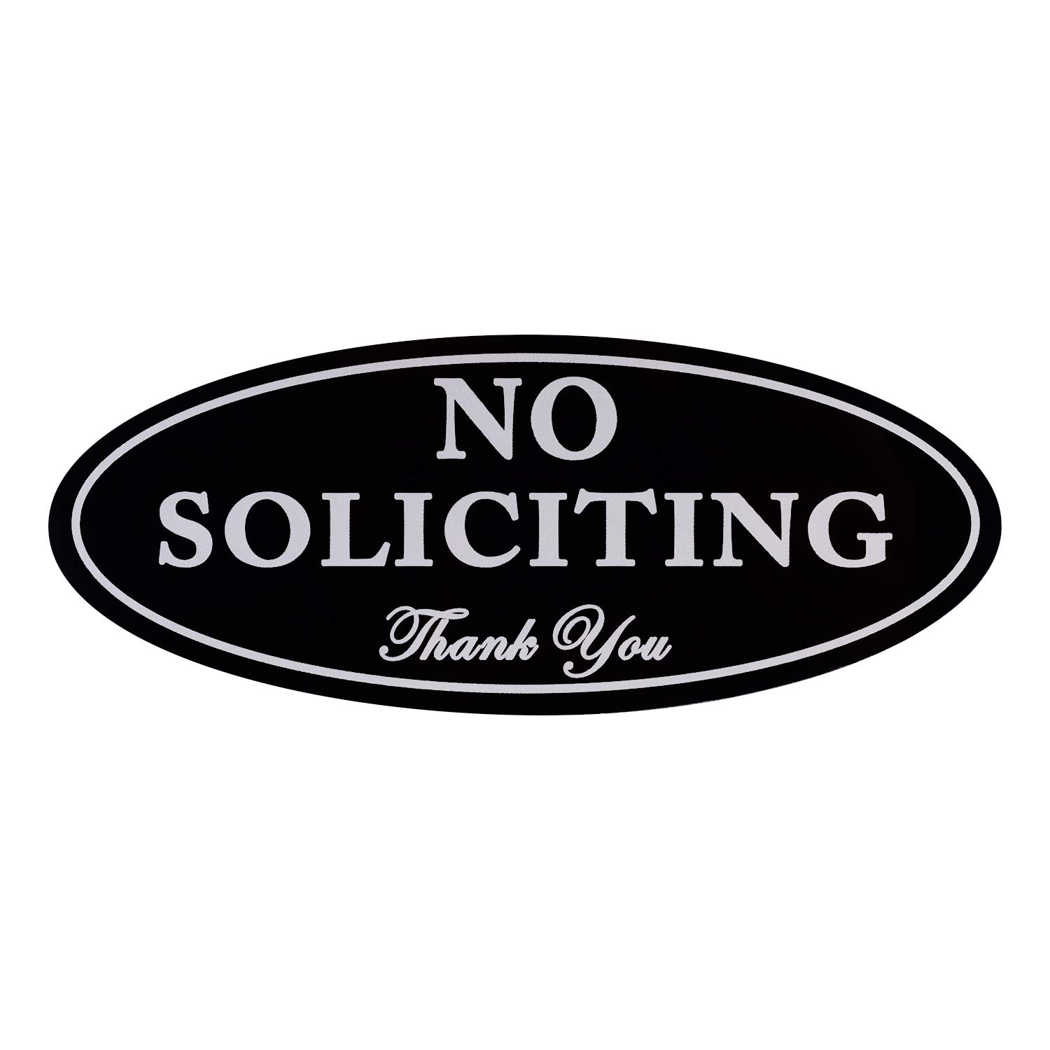 "No Soliciting Sign with Magnets on The Back, Black, 2.8"" x 7"", Keeps Unwanted Visitors Away, No Deforming, Residue Free Adhesive Included"