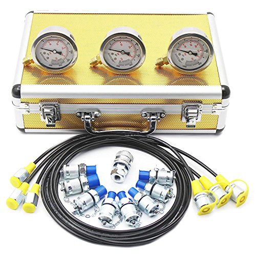 Hydraulic Pressure Gauges Kit - SINOCMP Hydraulic Gauge Test Kit Used for Excavators, 11 Couplings, 3 150cm long Test Hoses and 3 Pressure Gauges, Luxury Golden Aluminum Box 2.5KG, 2 Year Warranty