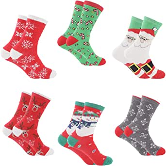 Christmas Socks Women - Santa 6 Pack with Colorful Funny Holiday Xmas Designs - Women's Crew Socks - Christmas Socks for Girls Fun Novelty Christmas Gifts | Size 6-9