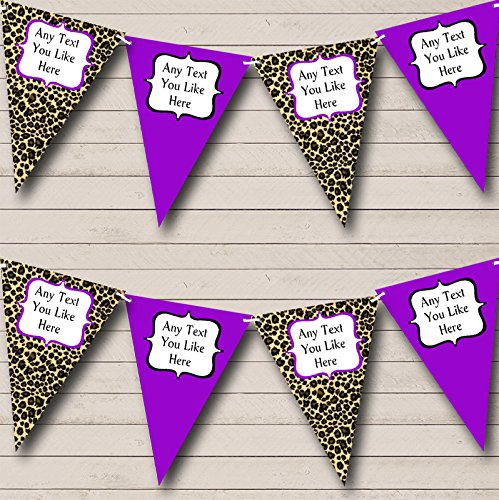 Leopard Print And Purple Personalized Birthday Party Bunting Banner Garland ()