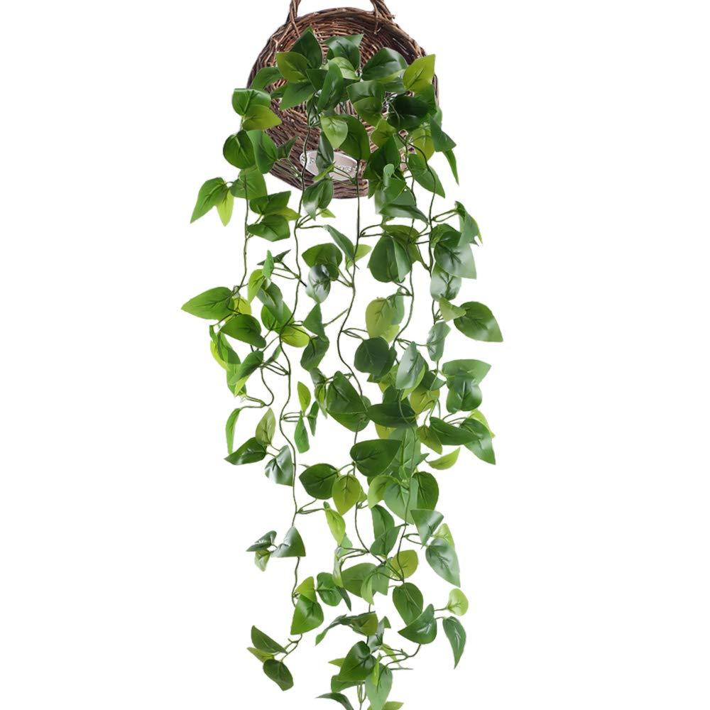 HUAESIN edera Artificiale da Esterno 3.4 FT pothos Piante rampicanti finte Ghirlanda di edera Piante di Seta per Interno Matrimonio Fioriera Recinzione Decorazione(Verde)