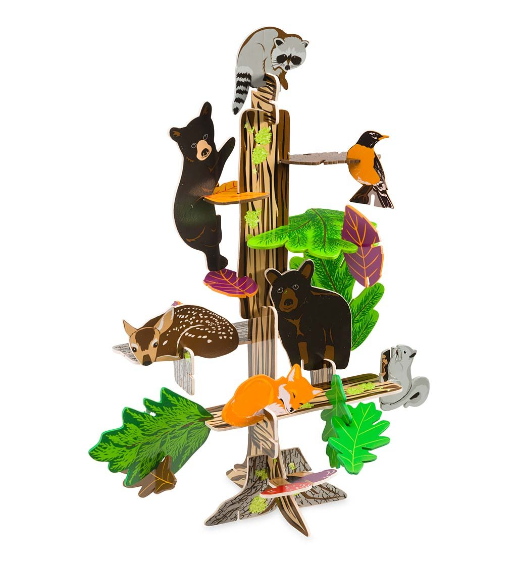 Woodland Habitat Connectagons 111 Piece Wooden 3D Interlocking Toys Building Play Set HearthSong