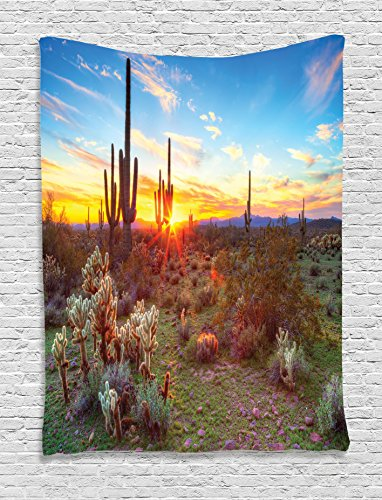 Ambesonne Saguaro Cactus Decor Collection, Saguaros Wildflowers in Sonoran Desert Scene Picture Print, Bedroom Living Room Dorm Wall Hanging Tapestry, Blue Yellow Orange Olive Cactus Scene Wall Art