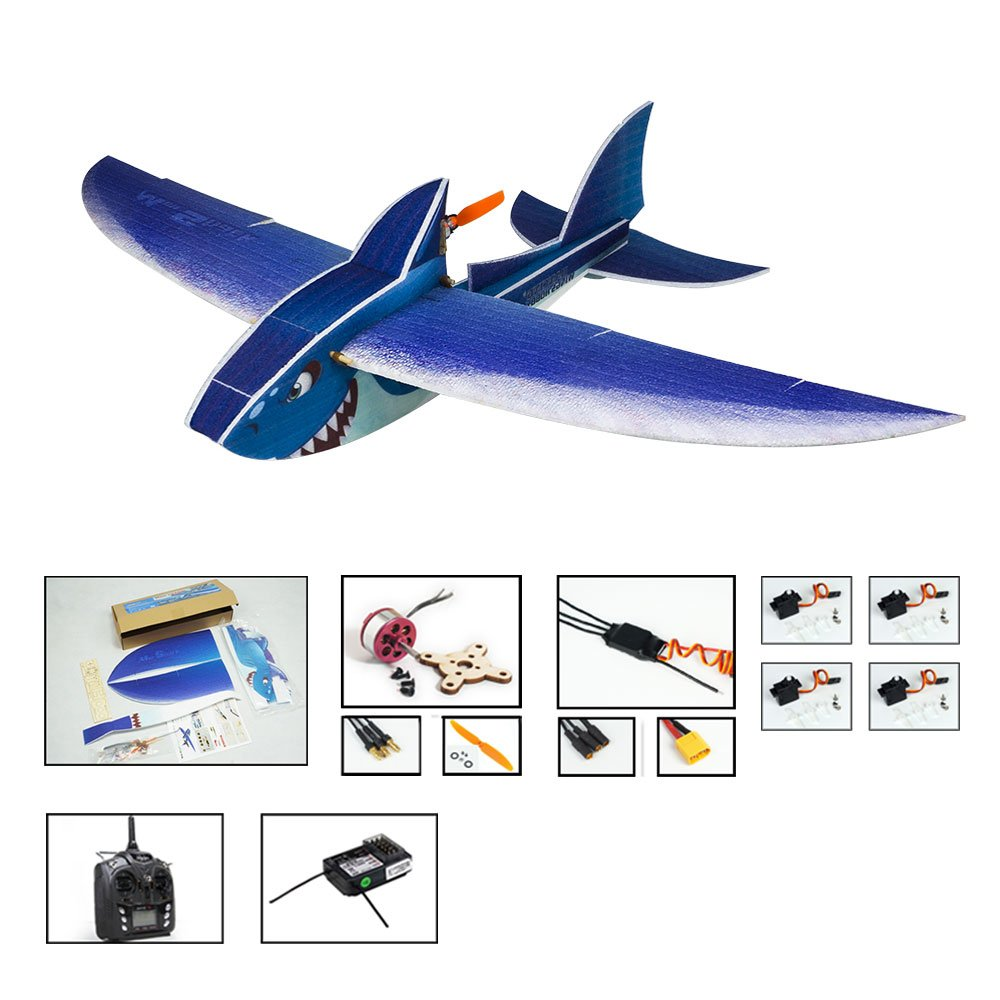 DWホビー4 CH EPPスケール飛行機Mini Shark 1000 mm Wingspanリモート制御さBiomimetic Flying Aircraft趣味グレード平面W /モーター/ ESC /サーボ/送信機/受信機の選択肢 E14 B07BTRL95C E1404-L4
