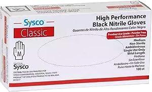 SYSCO HIGH Performance Black Nitrile - Medium - Box with 100 Gloves
