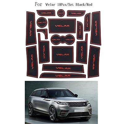 18pcs / Set Support Voiture Porte Groove Mat Porte Slots Coupe antidérapante Remplacement Pad DÉCORATION Land Rover Range Rover Velar High-tech
