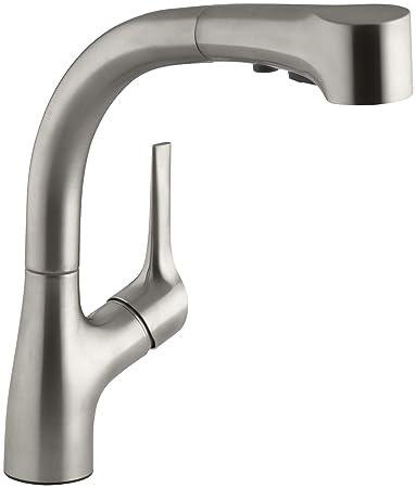 kohler forte kitchen faucet cartridge vs elate pullout vibrant stainless repair diverter