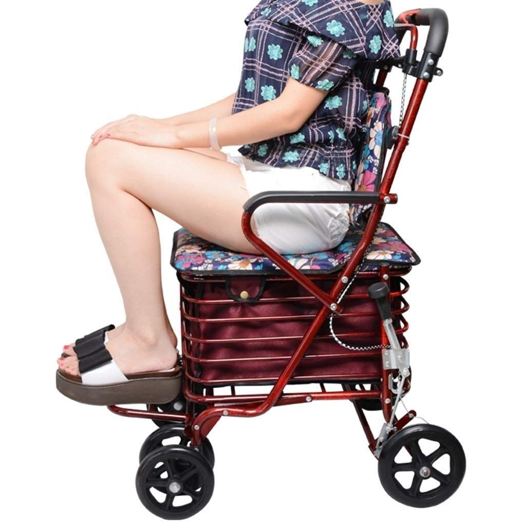 Rollator Walker Petite,with Fold Up Removable Back Support with Seat and Lower Basket Lockable Brake Auxiliary Walking Safety Walker (Color : Red) by YL WALKER (Image #6)
