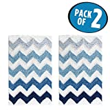 mDesign Soft Microfiber Polyester Non-Slip Rectangular Spa Mat Rug, Plush Water Absorbent, Chevron Pattern - for Bathroom Vanity, Bathtub/Shower, Machine Washable - 34'' x 21'' - Pack of 2, Blue Ombre