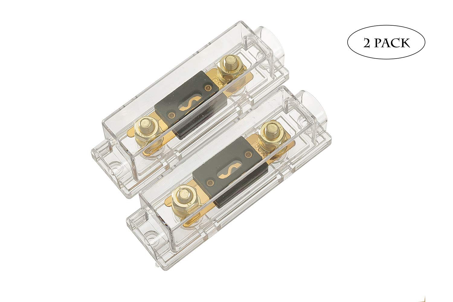 2 pack 150A Inline ANL Fuse Holder,Solid Brass 0//2//4 Gauge ANL Fuse Block with 150 Amp ANL Fuses for auto boat or other vehicles Car Audio Amplifier