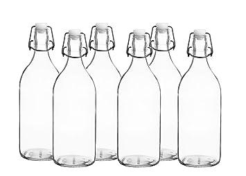 Flowersea Botellas de Agua de Cristal Reutilizables con Tapa a Prueba de Fugas, 1 l