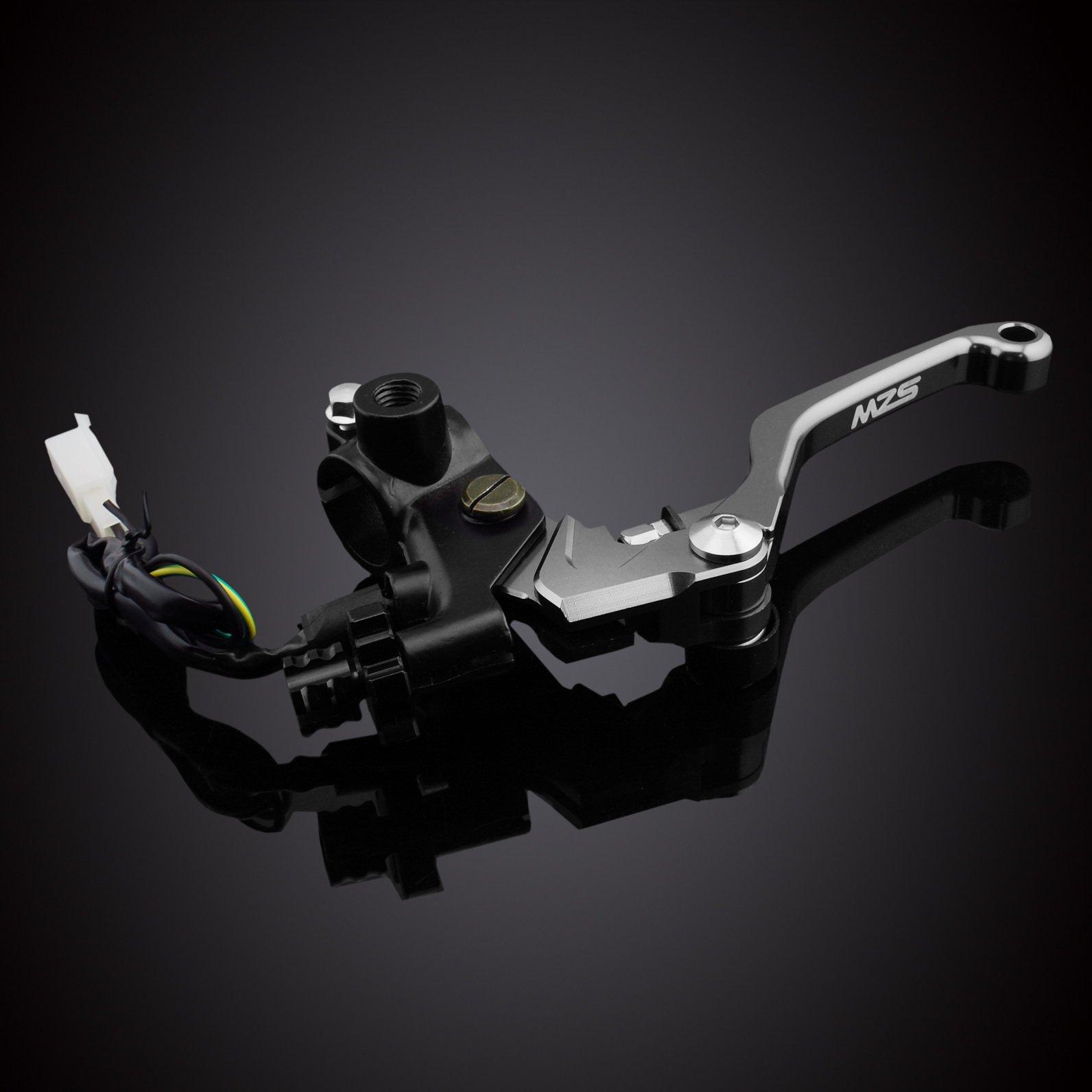 MZS 7/8 Brake Master Cylinder Reservoir Pivot Levers Set for Honda Yamaha Suzuki Kawasaki KTM (Gray) by MZS (Image #4)