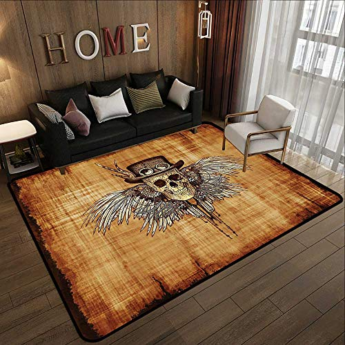 - Floor mat,Skulls Decorations Collection,Cool Skull Icon on Parchement Background Retro Style Dead on Eagle Wings Gothic,Brown Oran 71