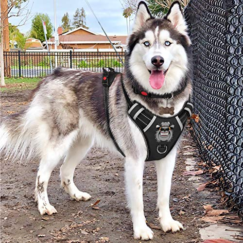Babyltrl XL Dog Harness No Pull Anti-Tear Adjustable Pet Reflective Oxford Soft Vest for Extra Large Dogs Easy Control Harness (Dog Collar Included) Collar Dog Pet Harness