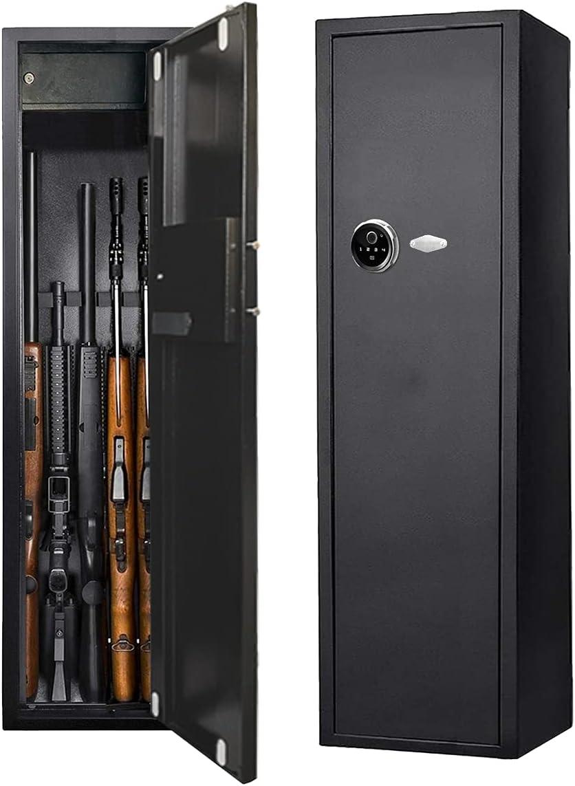 HIMAPETTR Huella Dactilar Pistola Caja Fuerte de Seguridad Acero, con 2 Llaves y Cerradura de Combinación, Almacenaje Escopetas, para 5 Armas Armario de Almacenaj