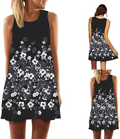 Summer Sleeveless Sundress 3D Print Casual Dress Womens Short Beach Mini Dresses