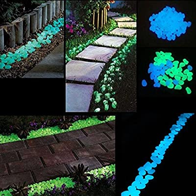 SUNNEST Glowing Rocks, Glow in The Dark Pebbles, Glow Decorative Stones Rocks, Luminous Pebbles for Outdoor Decor, Garden Lawn Yard, Aquarium, Walkway, Fish Tank, Pathway (200PCS)(Blue&Green) : Garden & Outdoor