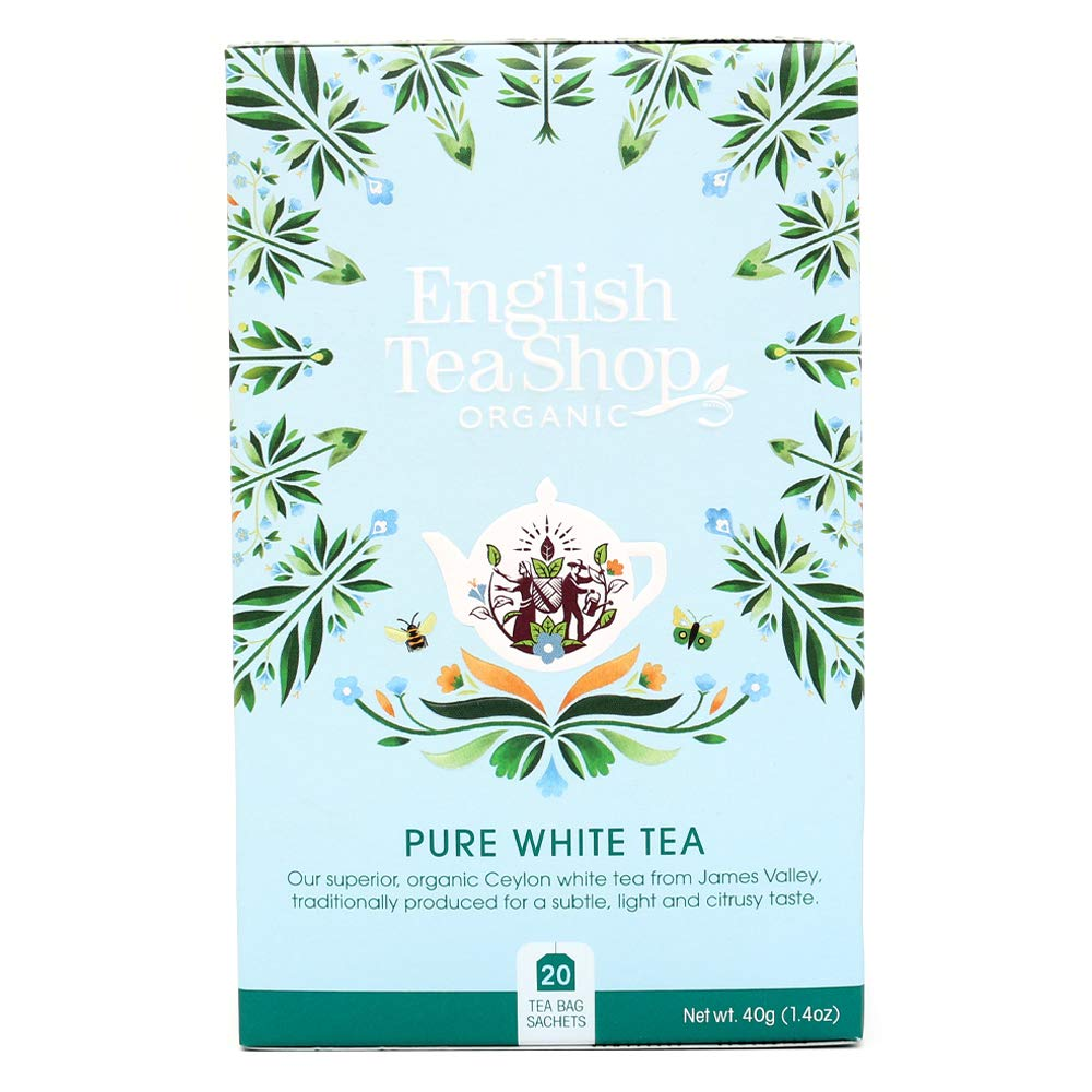 English Tea Shop Organic Pure White Tea - 20 Tea Bag Sachets, 40g (Pack Of 6)