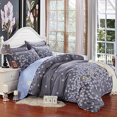 SAYM Home Bedding Sets Elegant Rural Style Print Twin Size Set For Lovely Teen Girls 100% Polyester Fiber Duvet Cover, Flat Sheet, Shams Set 4Pieces