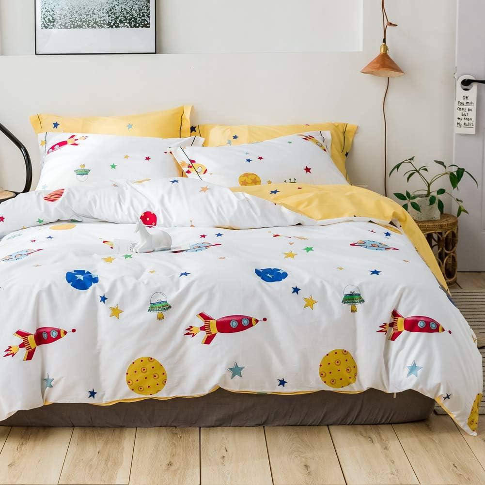 LAYENJOY Space Ship Duvet Cover Set Twin, 100% Cotton Bedding, Rocket Star Galaxy Pattern Printed on White Reversible Yellow, Cartoon Comforter Cover for Kids Teens Boys Girls, No Comforter