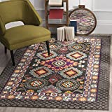 Safavieh Monaco Collection MNC240B Modern Bohemian Geometric Brown and Multi Distressed Square Area Rug (6'7″ Square)