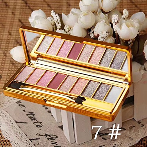Pevor Glitter Eyeshadow Palette Pigmented Eyeshadow Palette Bright Sparkling Eye Makeup with Makeup Brush Diamond Eye Shadow Multi-Colored Eyeshadow Set 9 Colors Eye Cosmetics Set 7#