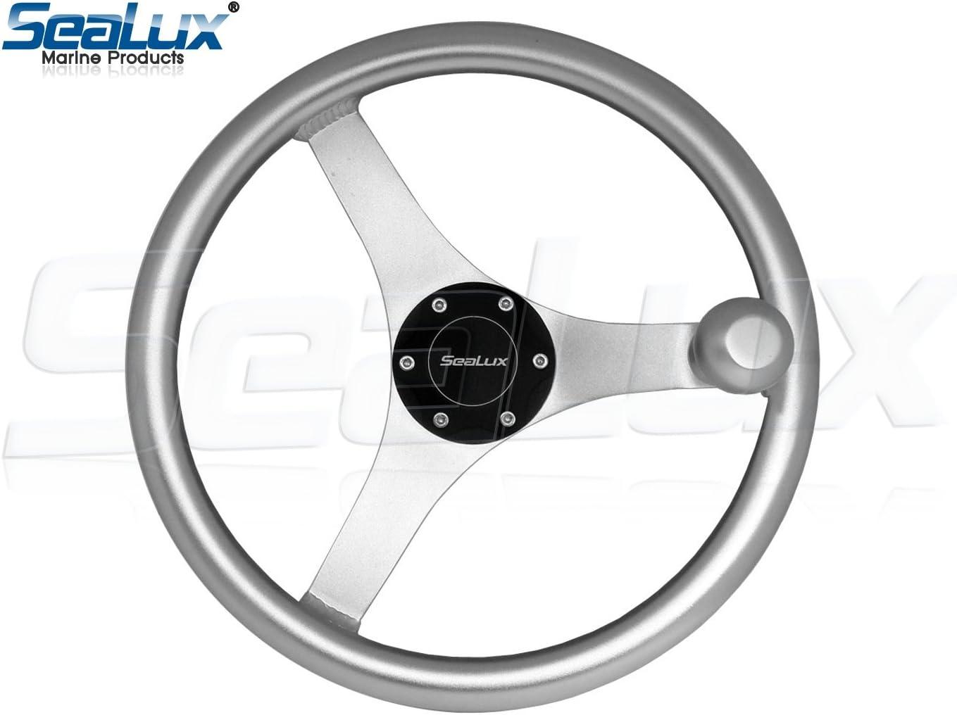 MARINE CITY 13-1//2 Marine Grade Aluminum Fabricated Sports Steering Wheel with Aluminum Knob