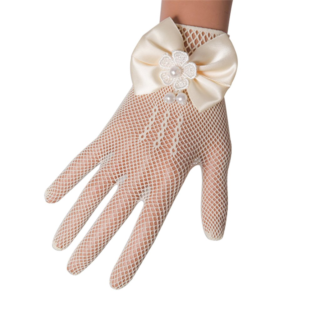 Castle Fairy Girls Lace Faux Pearl Fishnet Gloves Communion Flower Girl Bride Party Ceremony Accessories Ivory