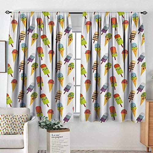Ice Cream Room Darkening Curtains Yummy Cones in with Emoji Faces Kids Boys Cartoon Design Print Drapes for Living Room 72