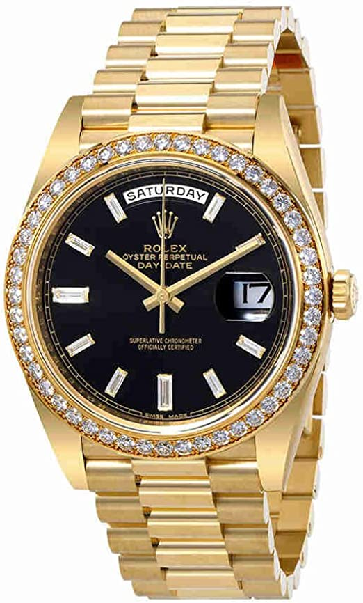 Rolex Oyster Perpetual Day,Date Black Dial Automatic Mens 18 Carat Yellow  Gold President Watch 228348BKDP