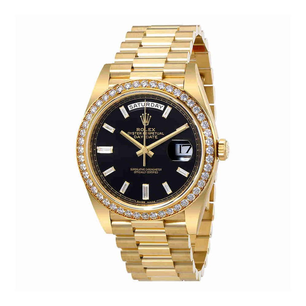 Rolex Oyster Perpetual Day Date Black Dial Automatic Mens 18 Carat Yellow Gold President Watch 228348bkdp