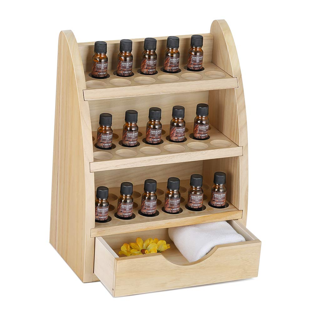 LIANTRAL Essential Oils Storage Rack, Wooden Nail Polish Display Holder Organizer- 45 Slots for 10/15/20/30ml Bottles (Natural Wood Color) by LIANTRAL