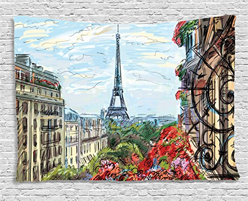 Decor Scene Street (Ambesonne Paris City Decor Collection, Street In Paris Town Traffic Trees Downtown Urban Life Exterior Monument Scene, Bedroom Living Room Dorm Wall Hanging Tapestry, 60W X 40L Inch)