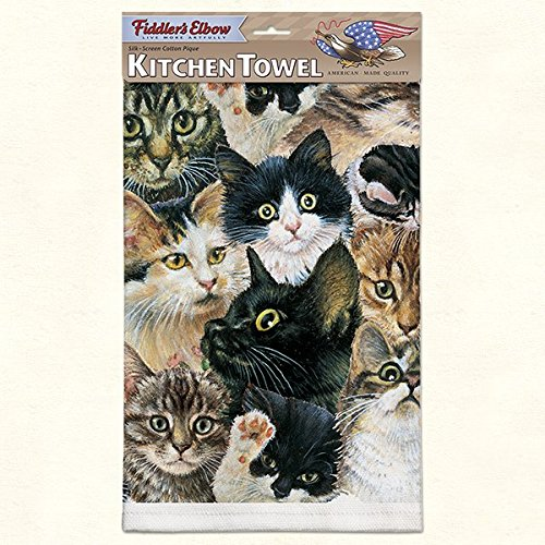(Fiddler's Elbow Kitchen Towel--Kitten Faces--22