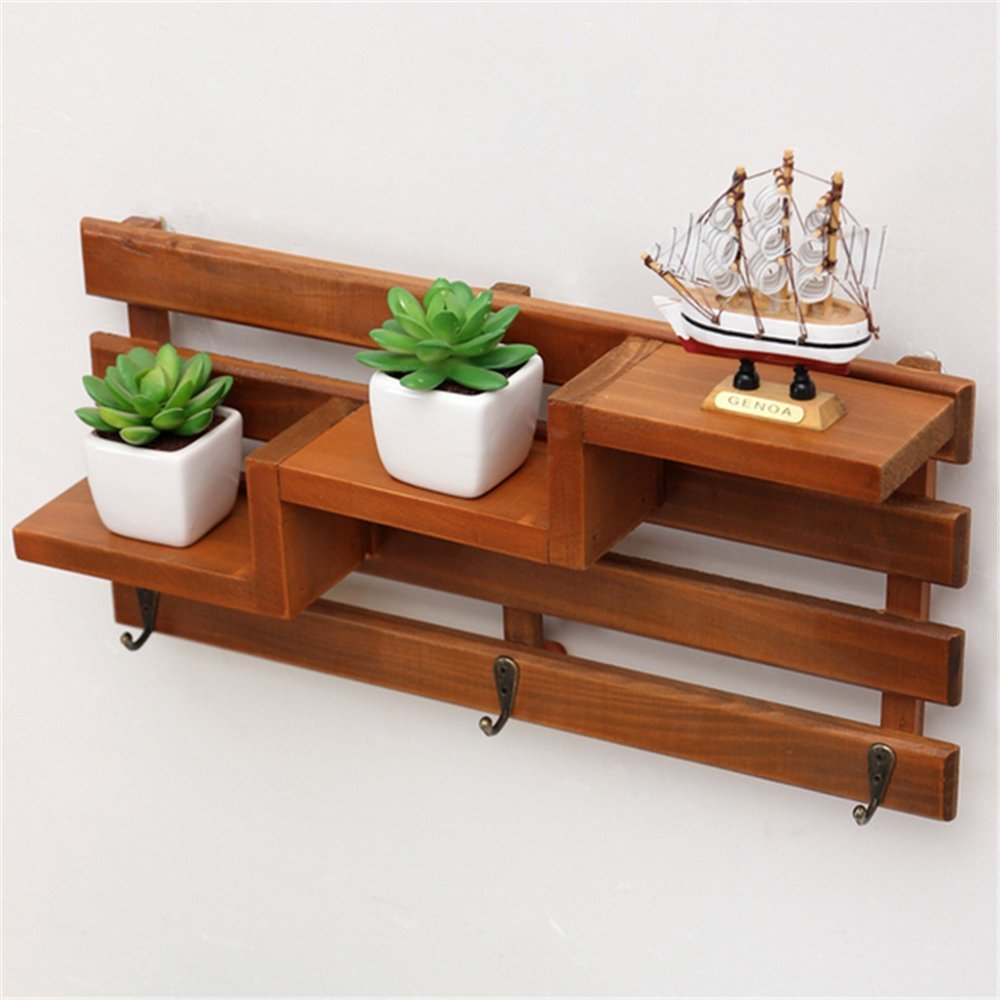 Chris.W Wall Mount Wooden Shelf with 3 Key Hooks / 3-Tier Mini Flower Pot/Planter/Doll/Beauty Supplies Rack for Hallway/Kitchen/Bathroom/Office Supplies Organizing Displaying