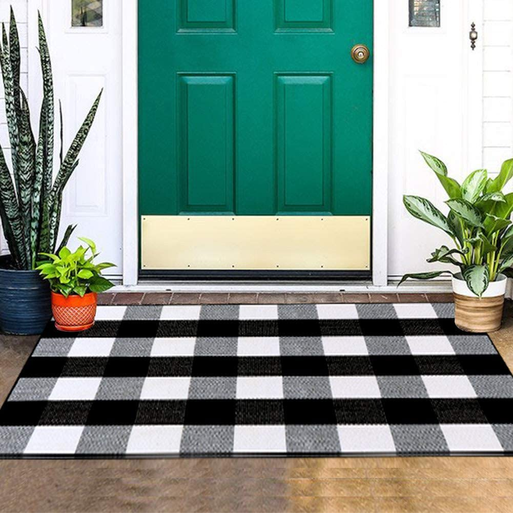 """Aytai Buffalo Plaid Rugs, Hand-Woven Buffalo Check Rug 100% Cotton Plaid Rugs Black and White, Non-Slip Area Rugs, Outdoor Plaid Rugs for Front Porch/Kitchen/Bathroom/Laundry Room (28"""" x 44"""")"""