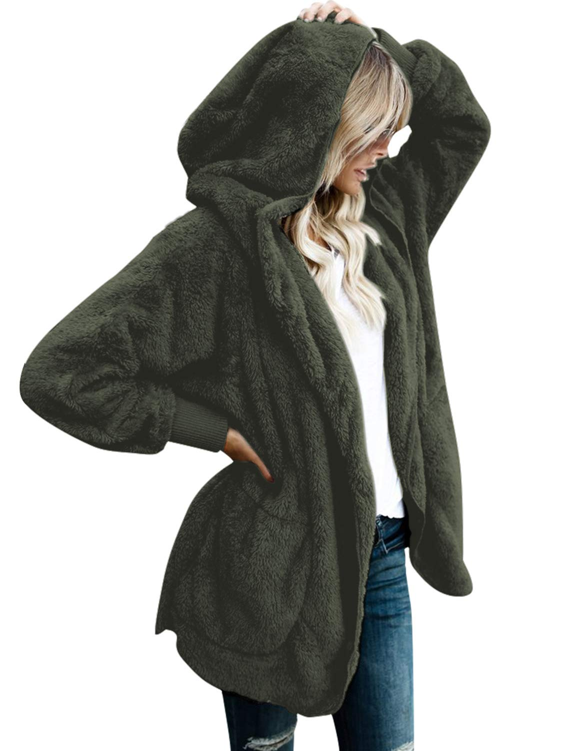 Lookbook Store Women's Oversized Open Front Hooded Draped Pockets Cardigan Coat LBS-TO-3187-N