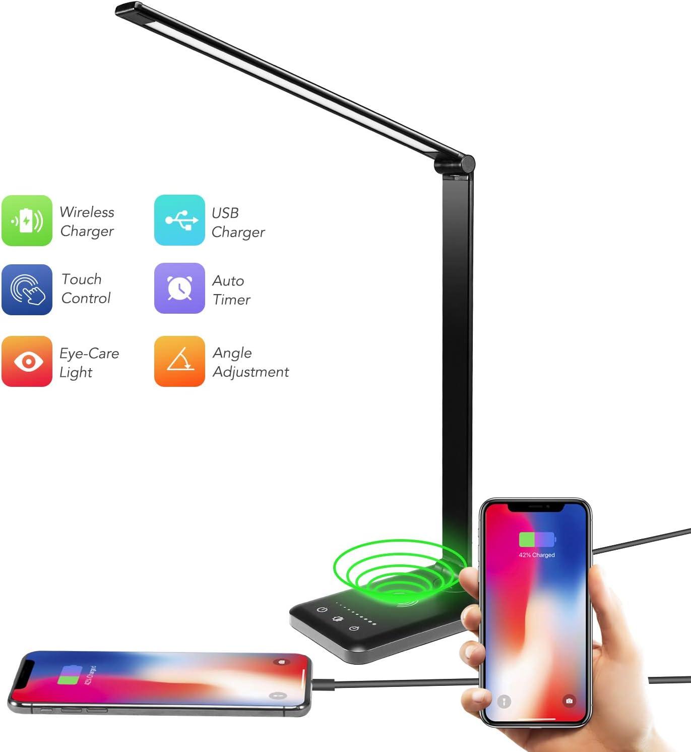 Acko Desk Lamp,Led Desk Lamp with USB Charging Port,Wireless Charging Lamp,5 Lighting Modes,5 Brightness Levels, Sensitive Control, 30/60 min Auto Timer,Office Desk Lamp Eye Care