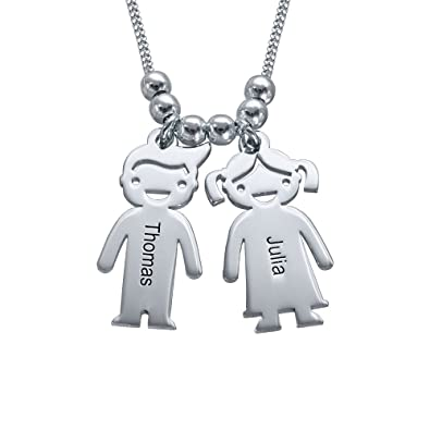Mother's Necklace Engraved 2 Children Charm in Sterling Silver-Custom Personalised with Any Names kZ3SYVB