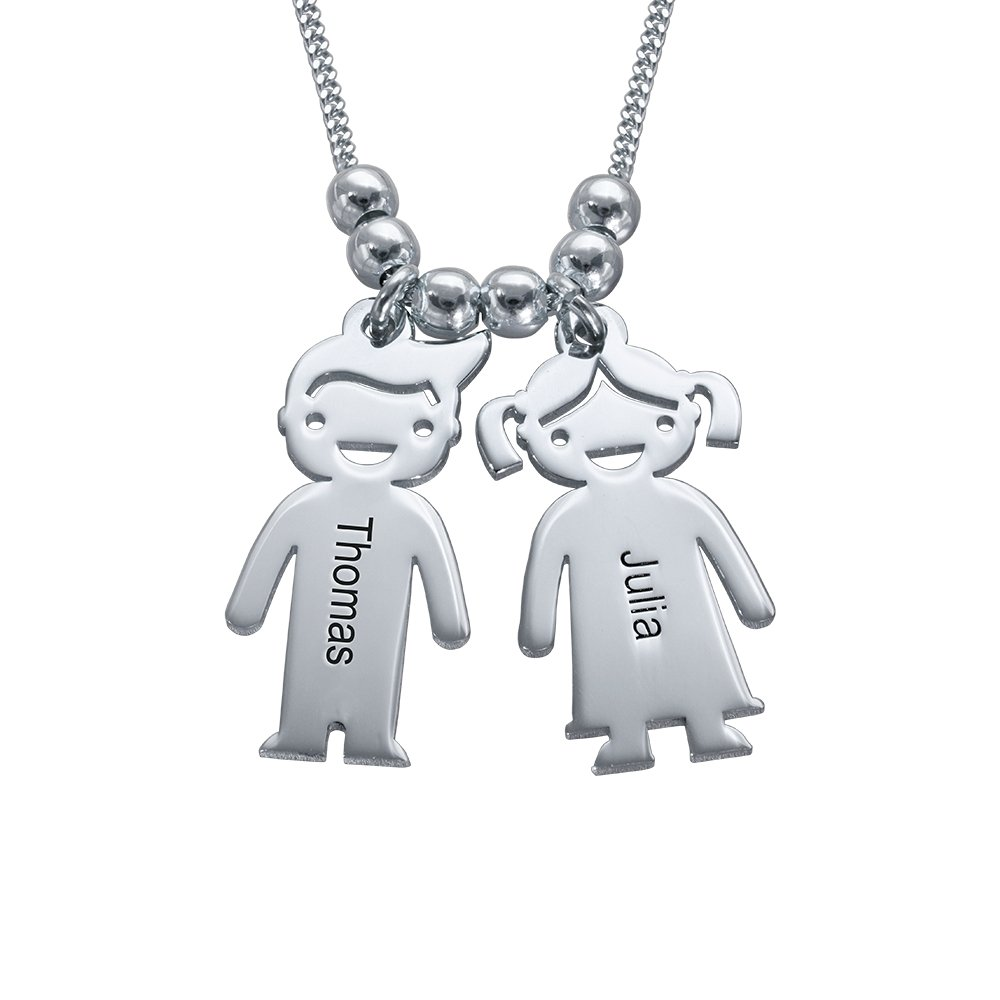 Personalized Children Charms Mothers Necklace-Engraved Boy Girl Charm Jewelry