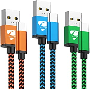 USB Type C Cable Fast Charging Cable Aioneus 6FT 3Pack Charger Cable Nylon Braided Charging Cord Compatible Samsung A20e A10e A50 A70 A40 A20 S8 S9 S10 Note 9 8, Moto G6 G7 Z3, Z4, LG, Huawei, Sony